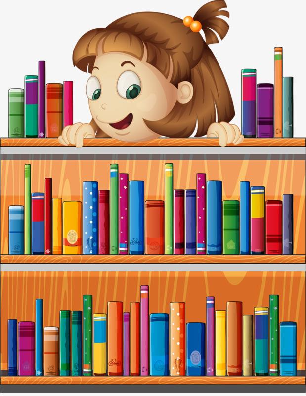 Bookshelf girl png image. Book clipart self