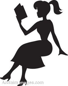 Reading image pretty young. Books clipart silhouette