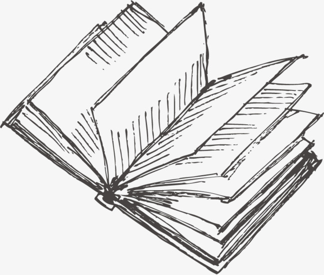 Books clipart sketch. Hand drawn opens the