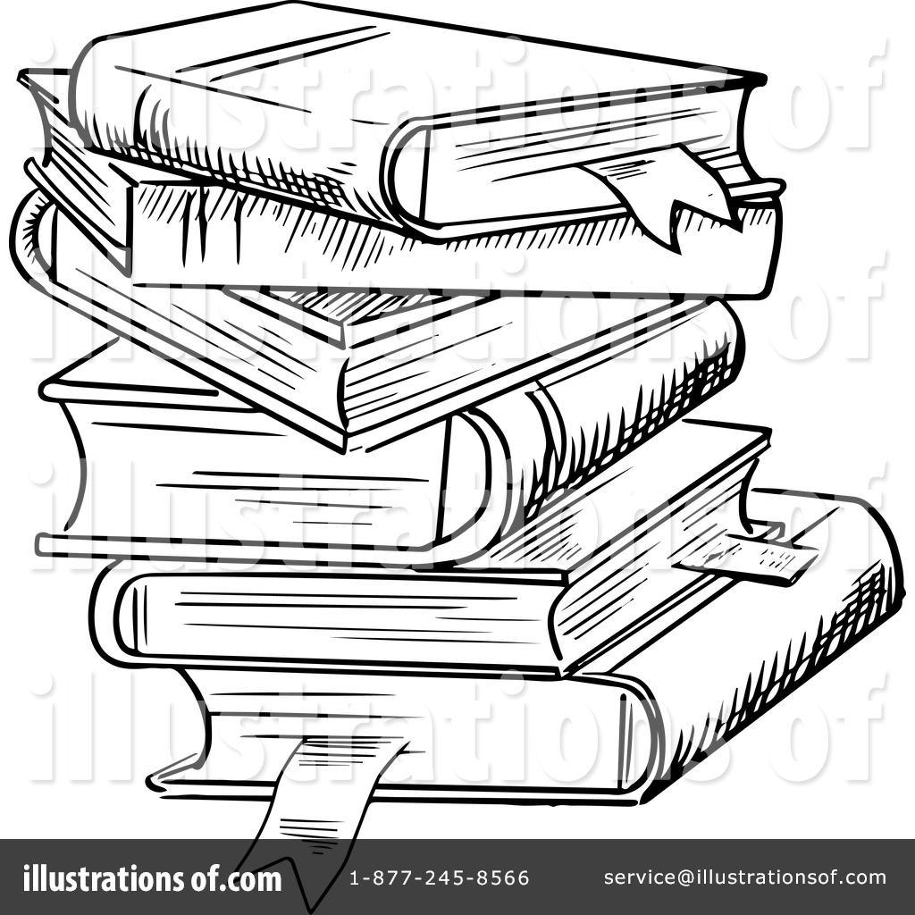 Books clipart sketch. Book stack drawing at