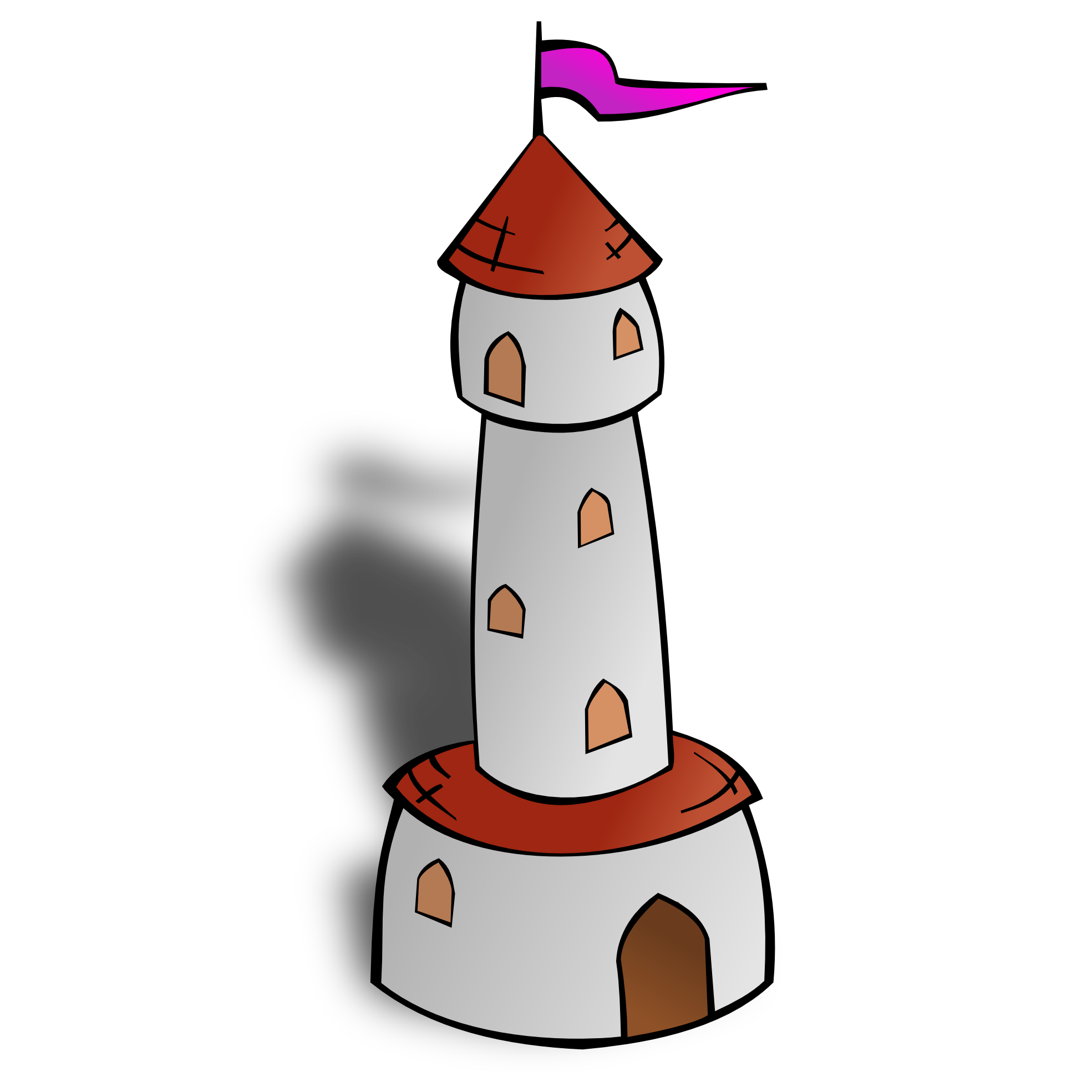 Round with flag art. Tower clipart easy