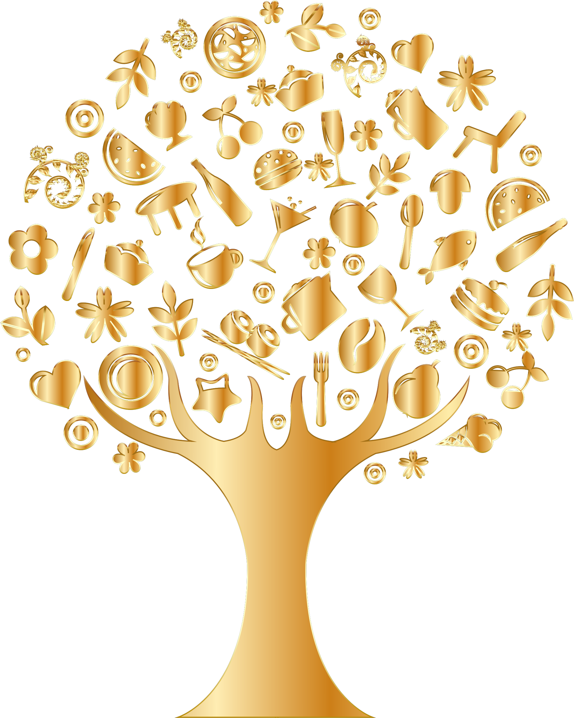 Gold abstract no background. Dog clipart tree