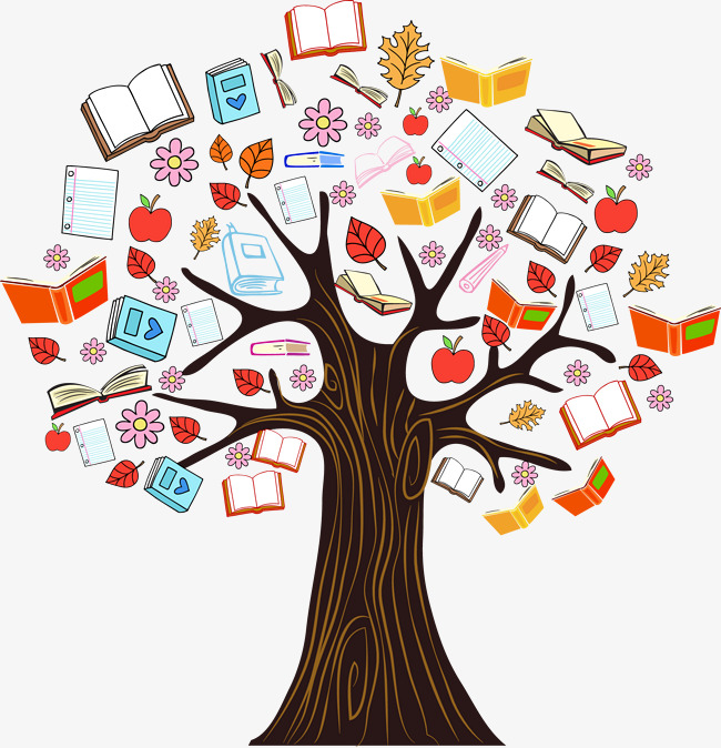 Tree vectors graphic resources. Books clipart knowledge