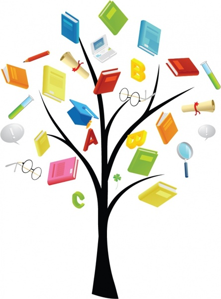 Book tree free vector. Books clipart knowledge