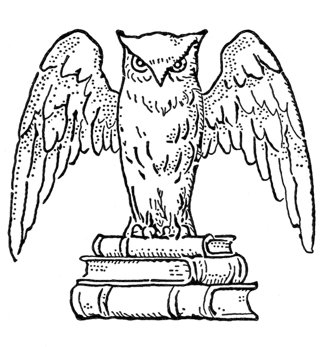 Books clipart vintage. Clip art interesting owl