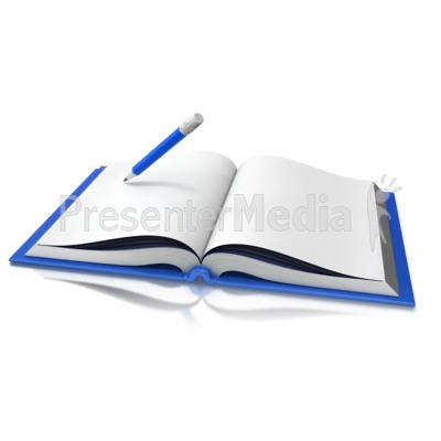 Opened book pencil great. Clipart writing presentation