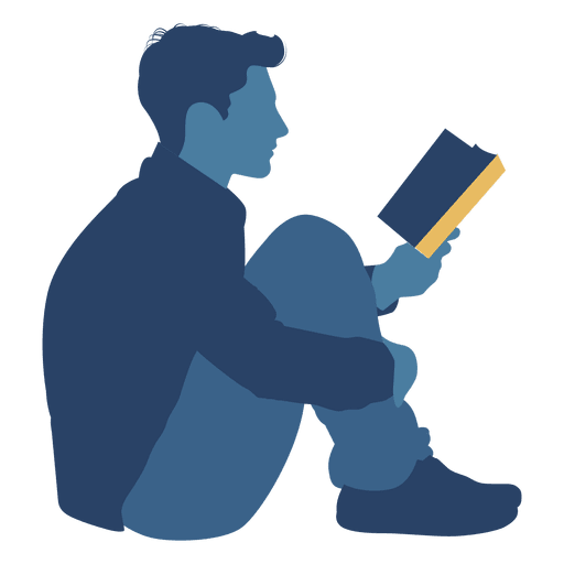 Book vector png. Man reading floor silhouette
