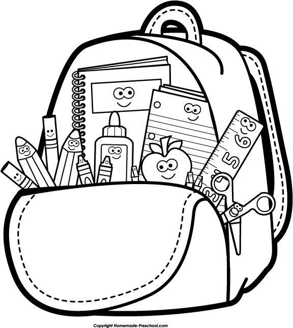 Bookbag clipart backback. Bag school stuff pencil