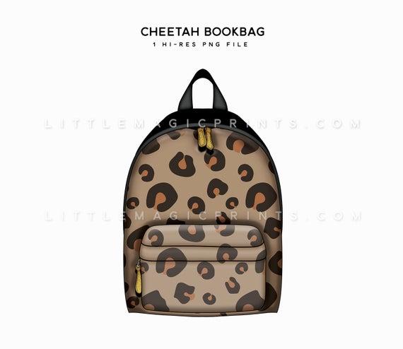 Bookbag clipart backback. Cheetah book bag digital