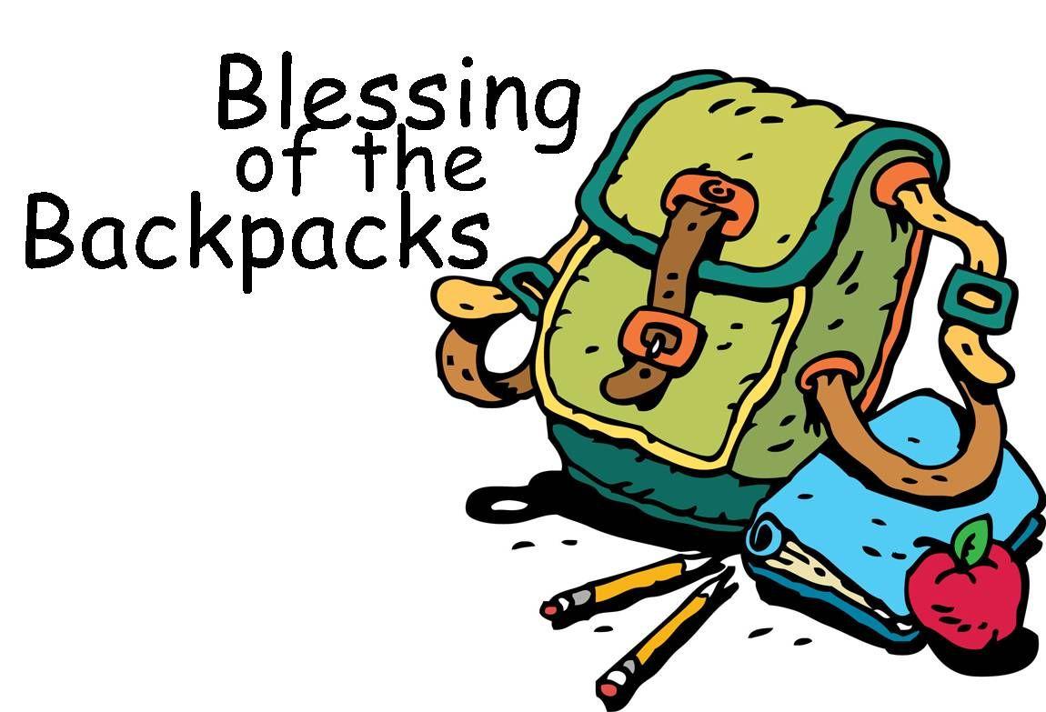 Bookbag clipart backpack. Blessings black and white
