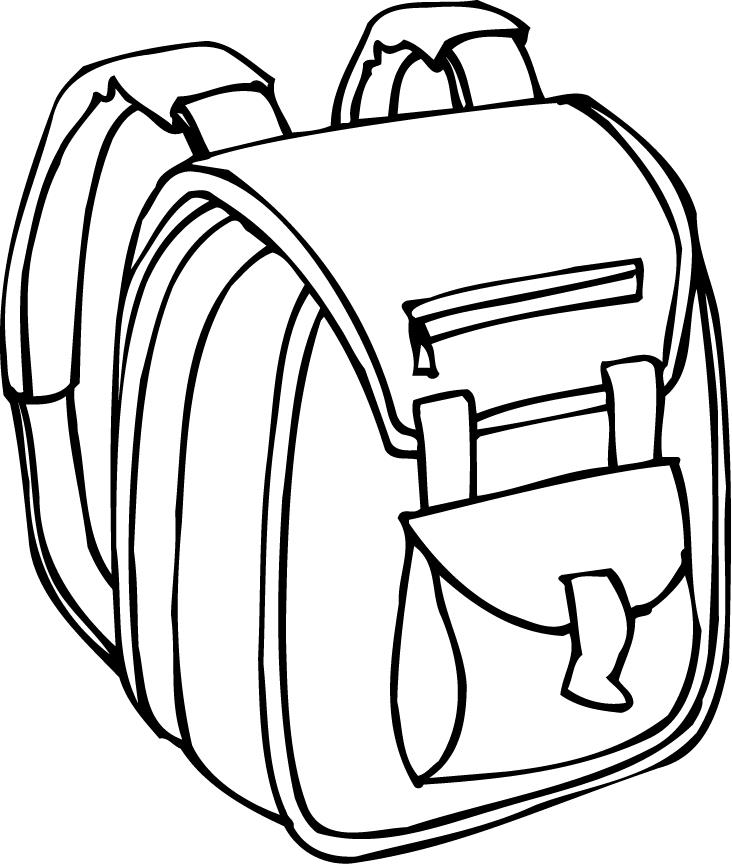 Backpack clipart line drawing. Blue printables