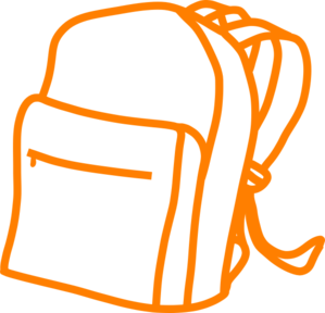 Orange back pack clip. Bookbag clipart bagpack