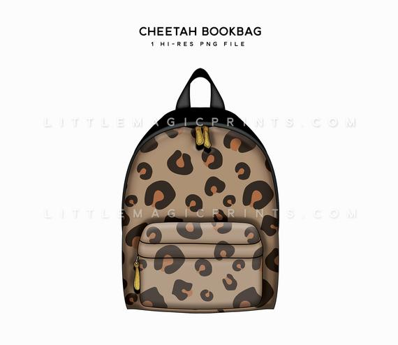 Cheetah digital fall print. Bookbag clipart book bag
