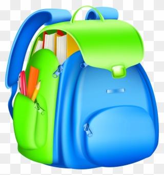 Full backpack collection bag. Bookbag clipart high school