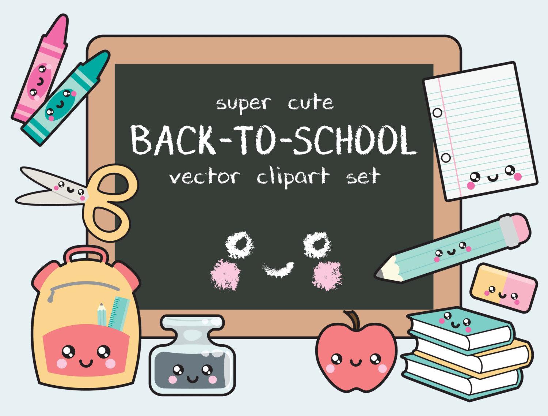 Premium vector back to. Bookbag clipart kawaii