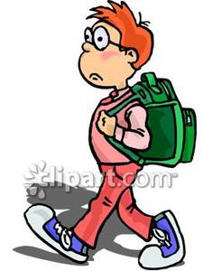 A child walking with. Bookbag clipart kid