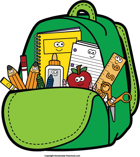 clipart backpack home school #61857659