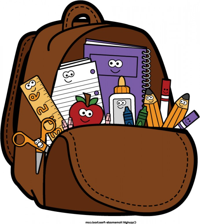 collection of school. Backpack clipart open