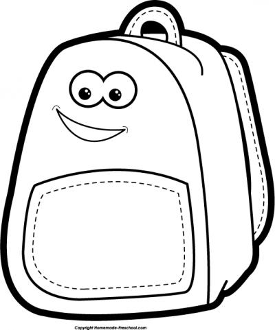 Bookbag clipart outline. Black and white of