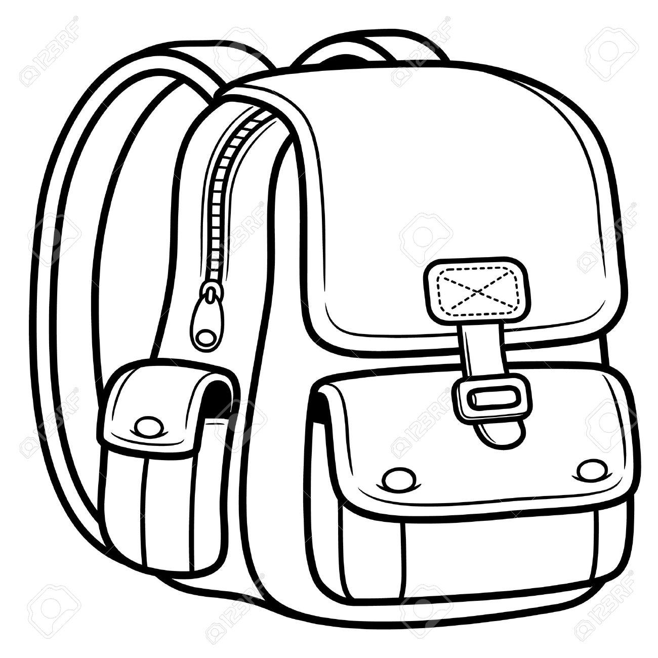 Bag school pencil and. Bookbag clipart outline