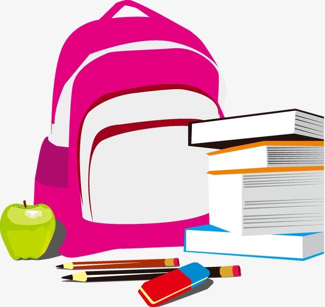Bookbag clipart vector. Book bag school pencil