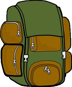Backpack green brown clip. Bookbag clipart vector