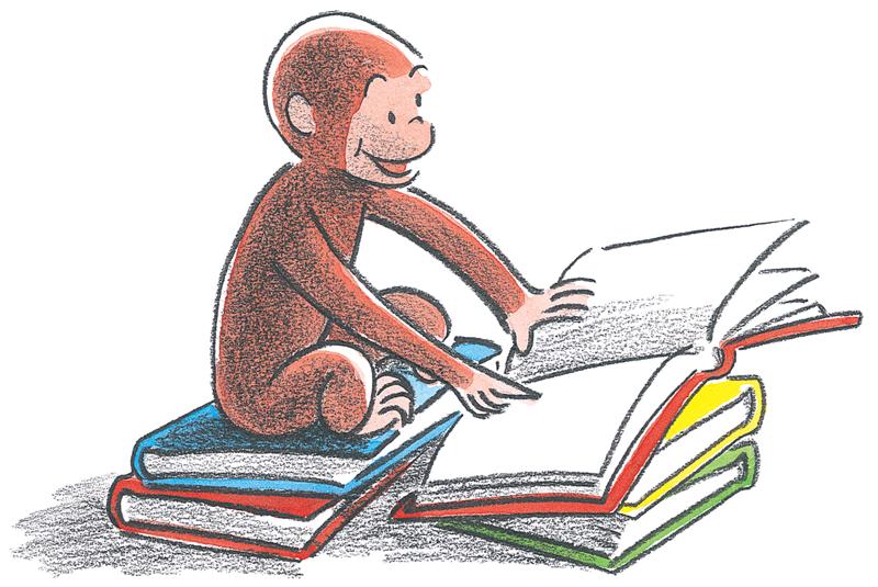 Day curious george reading. Monkeys clipart curiosity