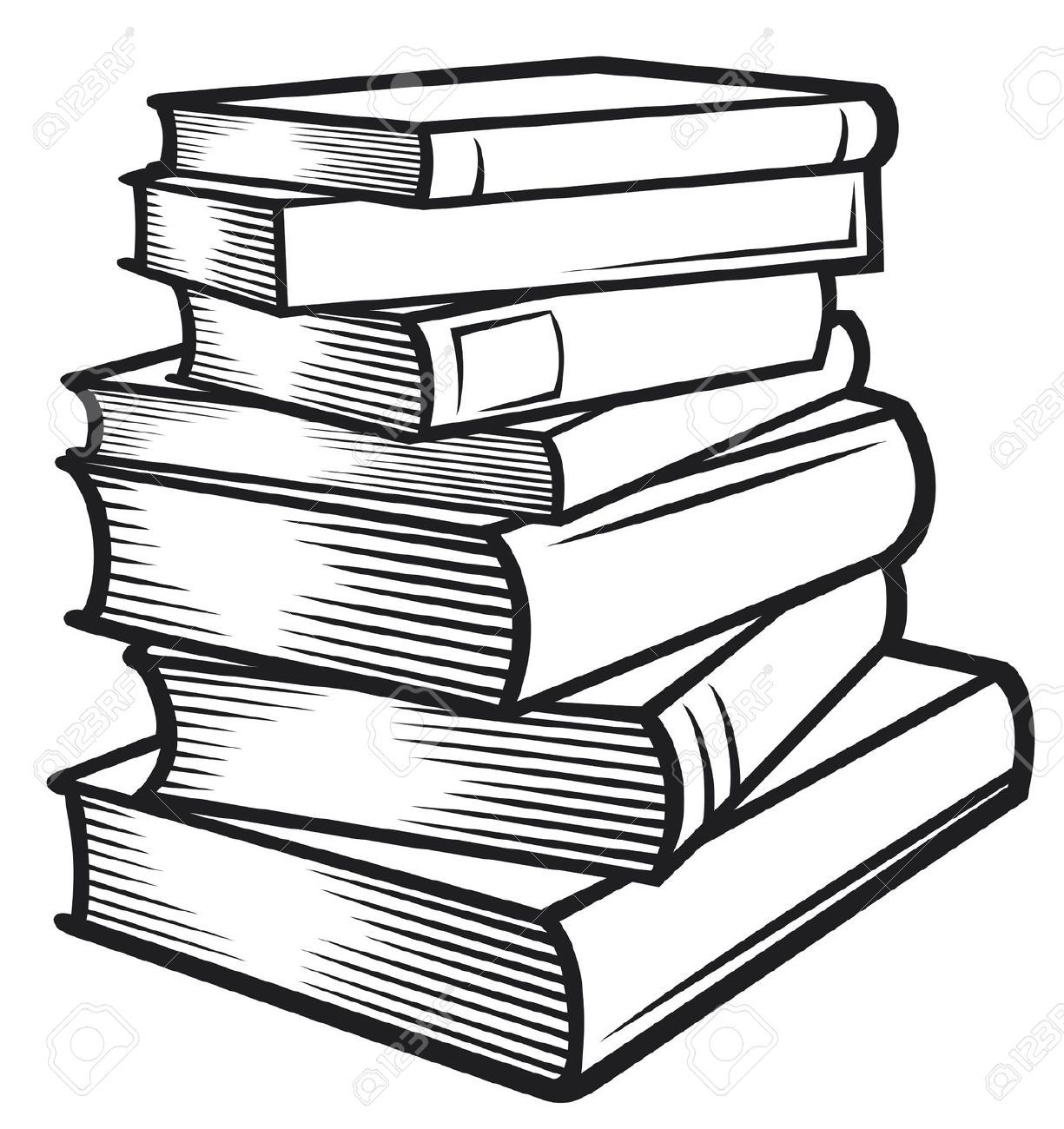 Stack of pinterest journal. Books clipart black and white