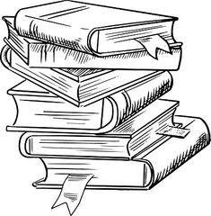 Stack of clip art. Books clipart black and white
