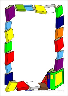 Book themed a page. Books clipart boarder