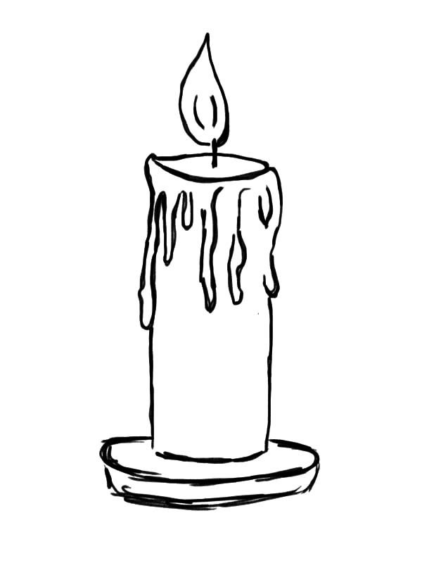 Candle light coloring pages. Candles clipart colored