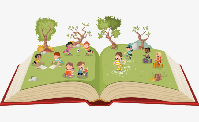 Books clipart children's book. Vector tree with cartoon