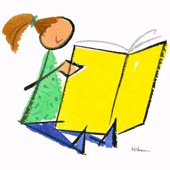 Reading picture and writing. Books clipart children's book