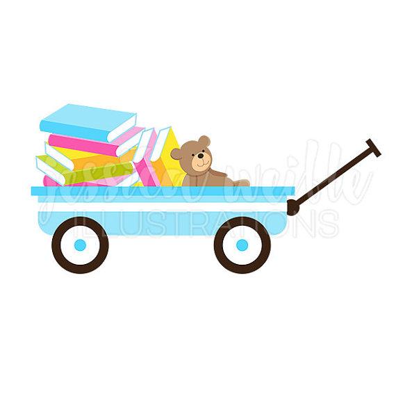 Blue wagon of digital. Books clipart cute