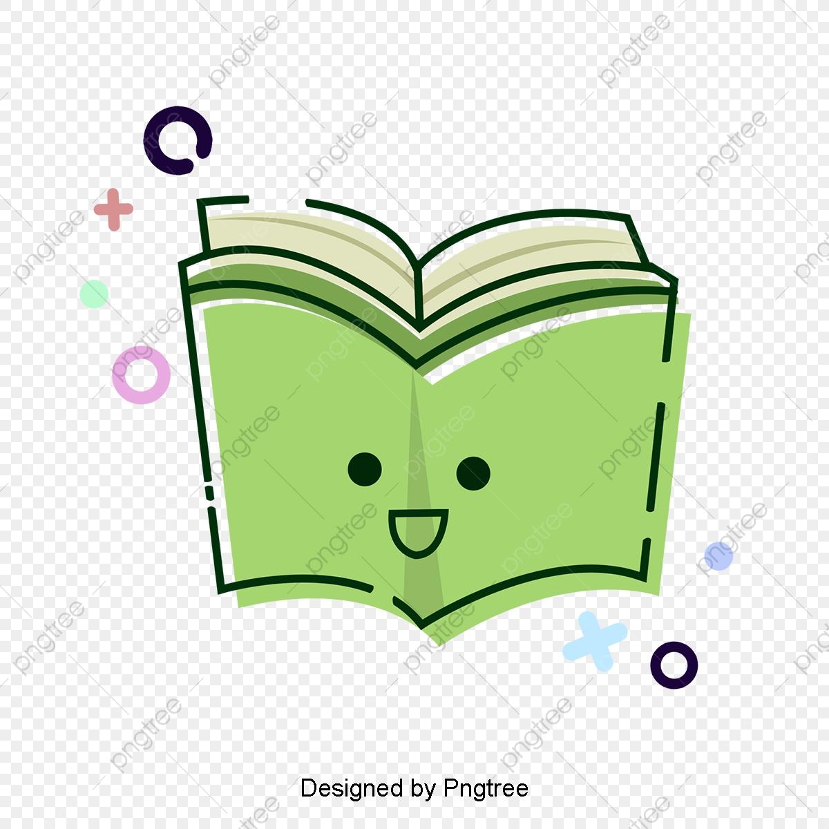 Books clipart cute. Green knowledge ocean elements
