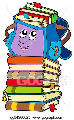Stock illustration school bag. Books clipart cute
