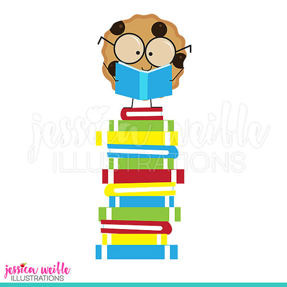 Books clipart cute. Smart cookie on book
