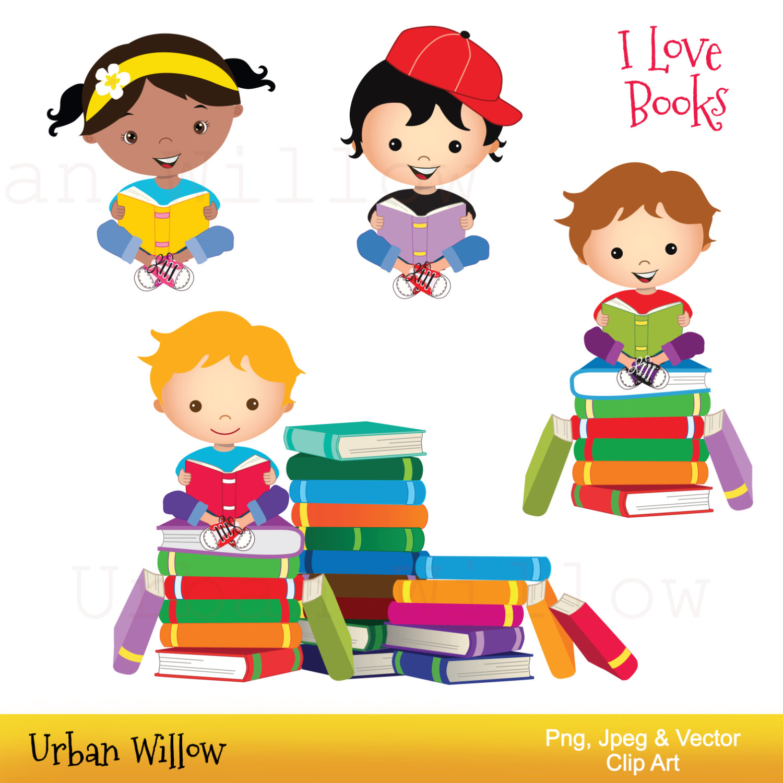 Books clipart cute. Clip art kids reading