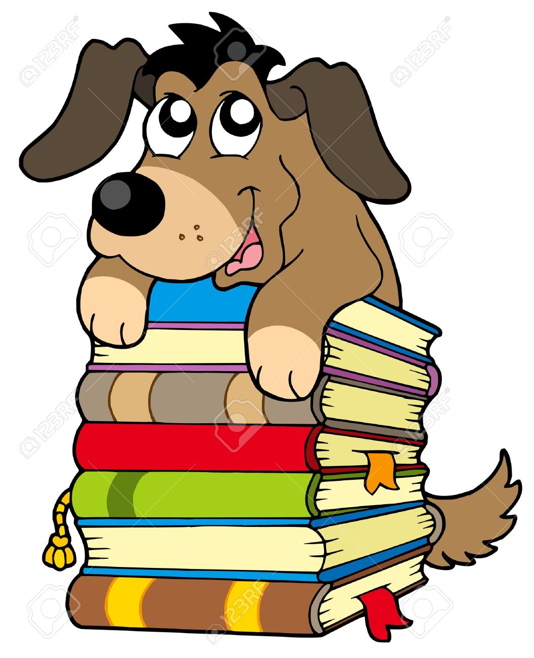 Puppy with . Books clipart cute
