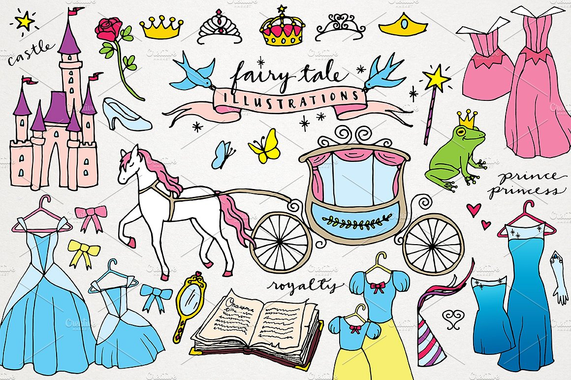 Books clipart fairytale. Fairy tale princess illustrations