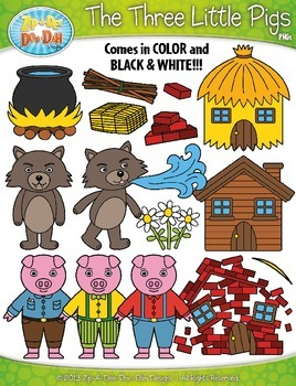 Books clipart fairytale. The three little pigs