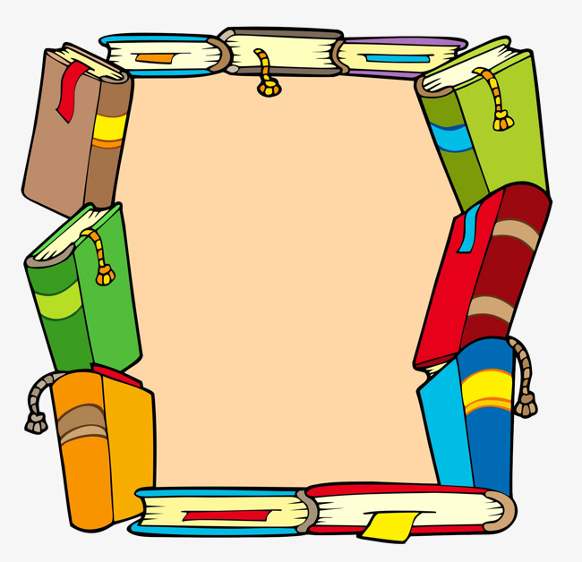 A stack of cartoon. Books clipart frame
