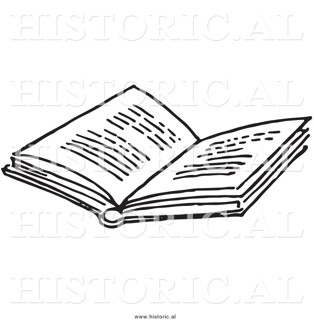 Historical of an opened. Books clipart outline