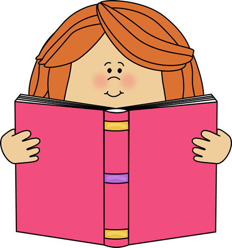 Reading clip art images. Girl clipart book