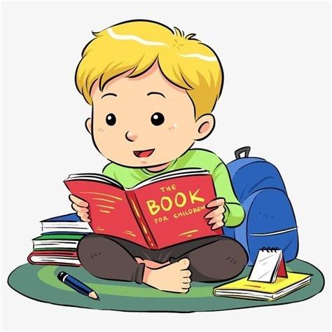 Cartoon boy miami . Clipart reading interesting book