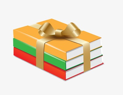 Books clipart ribbon. Three gift yellow png