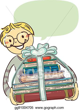 Books clipart ribbon. Vector stock boy carrying