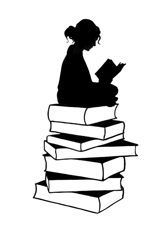 Books clipart silhouette. Sitting girl at getdrawings