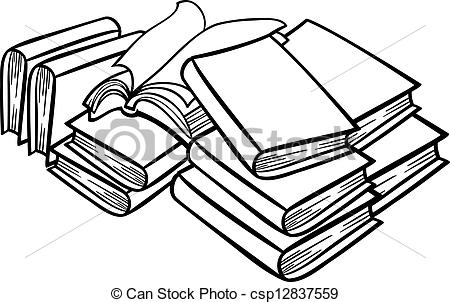 Books clipart sketch. Stack of black and