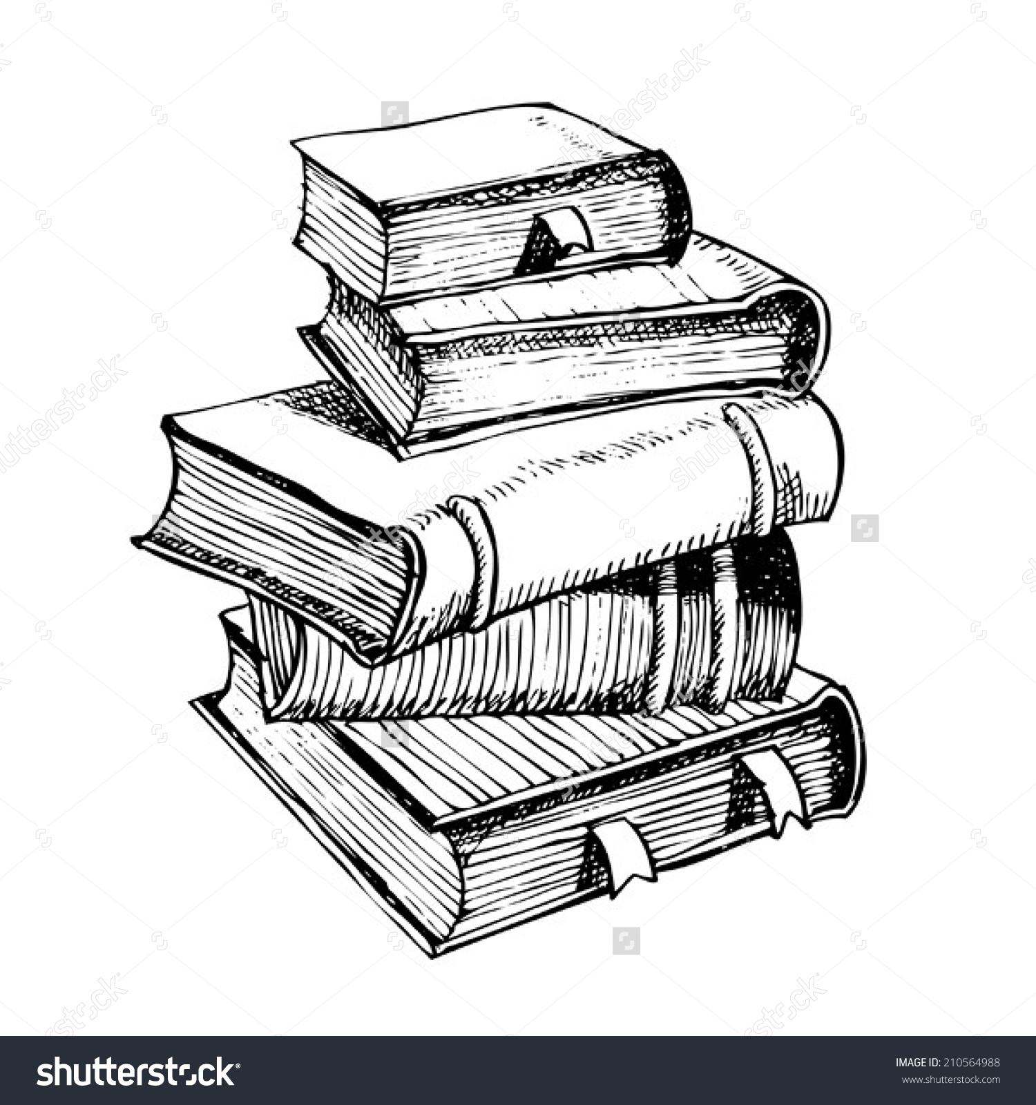collection of vintage. Books clipart sketch